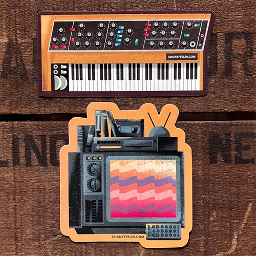 New stickers (Synth and VCR) from Eric Nyffeler! (Also check out some of his incredible prints)
