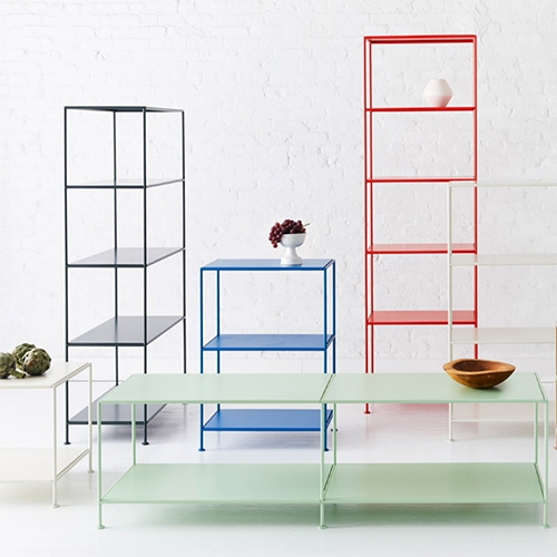 Stille is such a clean collection of slim, colorful metal shelving/tables from Standard Issue (See the preview pdf and instagram for lots of pics!)