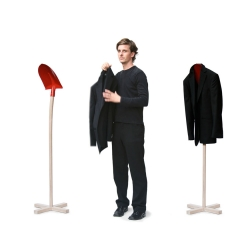 "A slight modification to an ""ordinary everyday"" shovel turns it into an elegant coat-stand. The ""Stiller Gefährte"" by David olschewski."