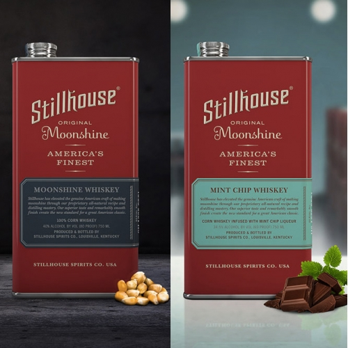Stillhouse Moonshine - In Original, Apple Crisp, Peach Tea, Coconut, Mint Chip, and Red Hot. All packaged in interesting paint thinner style cans.