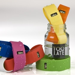 TooLate ~ check out these new watches ~ awesomely packaged in jars, these playful, colorful, waterproof watch bands are apparently a hit in italy and only just coming to the US!