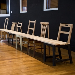 This bench by Jo Nagasaka of Tokyo-based Schemata Architecture Office is made of six chairs and a plank of wood. Gorgeous!