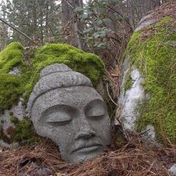 ahhh... mind relaxation and calm delight await anyone who comes upon this Dharma Crafts large stone buddha in the garden.