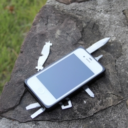 "Taskone - Fix your bike or cut your steak with your iPhone! A multi-tool case with a 2.5"" knife, saw, screwdrivers and 13 other tools, this definitely can come in handy."