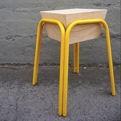 Danilo Calvache Design Studio Pira Stool - triplex + metal frame hand made stool