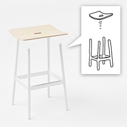 "Float Stools by Nendo for Moroso - "" By utilizing the structure of the cantilever that only supports the back legs a cushiony feel has been given"""