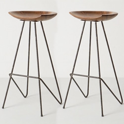 Beautiful Perch Barstool from Anthropologie ~ Reclaimed teak is handcrafted into a smooth, polished seat and set atop an architectural frame of sleek steel.
