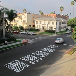 """Stop making stupid people famous"" ~ Plastic Jesus has been spreading his message all over LA. (There are even t-shirts of this...)"