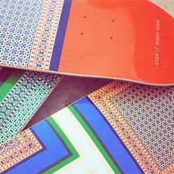 STOP IT RIGHT NOW's beautifully patterned skateboards.