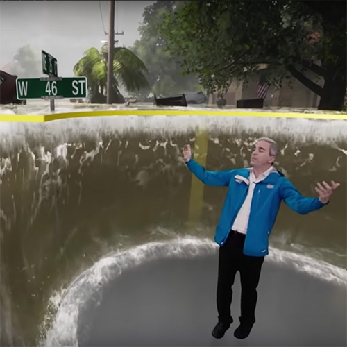 The Weather Channel's green screen visualizations of the dangers of the current hurricanes and typhoons are fascinating.