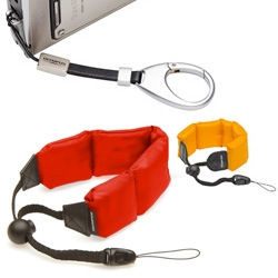 "Olympus has Carabiner Straps and Floating Straps which have ""gentle positive buoyancy of strap allows users to take steady underwater pictures without having their hand forced to the surface."""