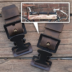Biken Hanging Clips - Versatile leather/metal bike clips to attach anything you need to transport.