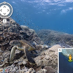 Google announces its first underwater street view with  trip through a portion of the Great Barrier Reef.
