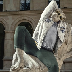 French art director Alexis Persani and french photographer Leo Caillard created a series called 'Street Stone'. Persani used photoshop to digitally dress the statues in the latest fashion trends.