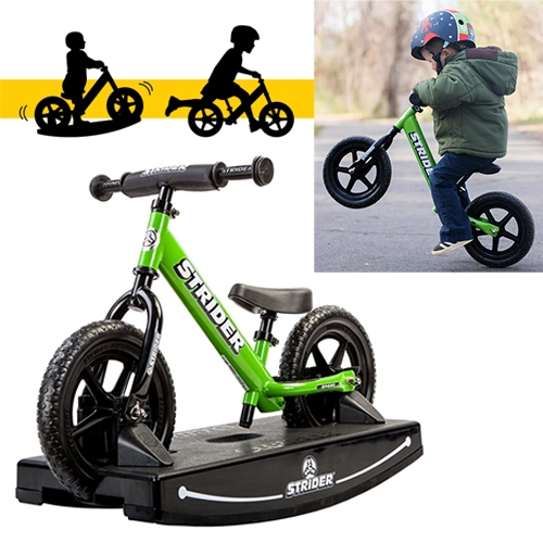Strider 2-in-1 Rocking Bike/Balance Bike! Taking your kid from 6 months to 3-5 years as it transforms into a balance bike, complete with adjustable seat and handle bars to grow with them. (Also check out their race events!)
