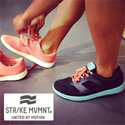 "STR/KE MVMNT (Strike Movement) - this new athletic line takes its design inspiration from ""skateboarding and going to punk rock and hip hop shows"" resulting in clean styling and fun colors! (And the shoes have pleasure pockets!)"