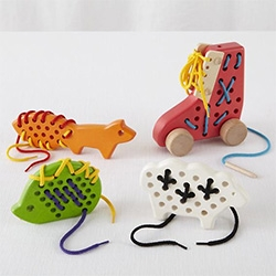 String Theory Games for kids - sheep, fox, hedgehog, and shoe in wood
