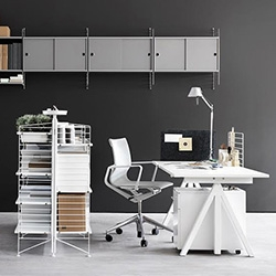 String WORKS! A new addition to the classic String shelving systems - desks, dividers, shelves, filing cabinets, trays and more designed by architect Anna von Schewen and industrial designer Björn Dahlström.