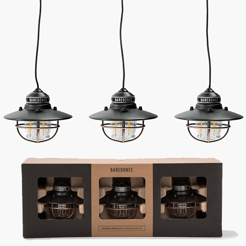 Barebones Living Edison String Lights come in 3's, in black, red, or copper. powered by USB portable charger (with on/off switch).