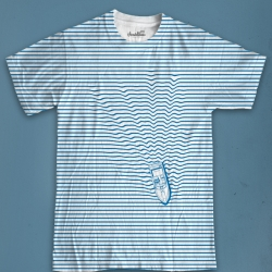 I thought it would be awesome to boat through a striped shirt. Great tshirt design called Wake from murraymullet.