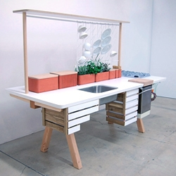 """'Flow2' concept kitchen by Studio Gorm. """"Flow is a living kitchen where nature and technology are integrated in a symbiotic relationship."""""""