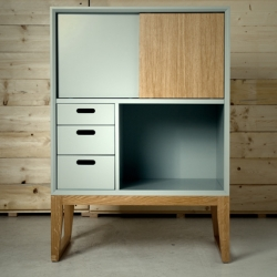 Flat grey paint and solid oakwood make these highboards by Berlin based Studio Ziben really adorable.