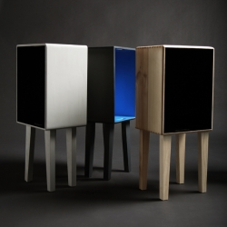 Studiobox by Studio Ziben from Berlin is made of recycled wood. The small boxes work as side tables and storage boxes as well. Great choice of colours.