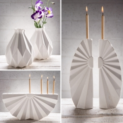 Time Fold is a ceramic set of contemporary Judaica, inspired by origami. Studio Armadillo designed Time Fold set, to bring ritual and festivity to our modern day to day life.