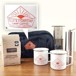 Poler x Stumptown Camp Coffee collaboration. 2 Enamel Mugs, AeroPress Kit, Porlex JP-30 Burr Grinder, Custom Bag, and a 12 oz bag of Holler Mountain Coffee.