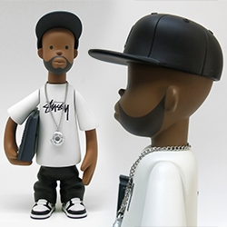J Dilla Figure by Pay Jay - rendered by Detroit artist Sintex, designed and sculpted by Seoul-based toy artist P2PL. It was manufactured by Blitzway on behalf of Pay Jay. It is a collaborative release with Stussy, whose logo is officially licensed.