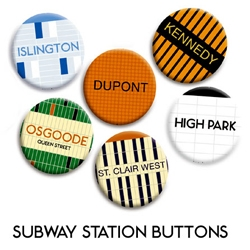 Check out the Toronto subway buttons!  More importantly, Check out spacing more generally.  http://spacing.ca/wire