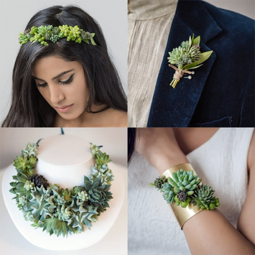 Passionflower Living Jewelry by Susan McLeary adorns headbands, necklaces, cuffs, rings, earrings and more with tiny living succulents... that you can plant within few weeks of wearing.