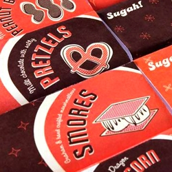 Fun, retro-style  candy wrappers designed by Brittany Pickrem for Sugah! Confectionery & Ice Cream Shop in Halifax, Nova Scotia.