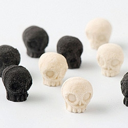 Skull-Shaped Japanese Sugar from Wasanbon, a fine-grained premium Japanese sugar, traditionally made in the Shikoku prefectures of Tokushima and Kagawa.  Designed by artist Nobumasa Takahashi