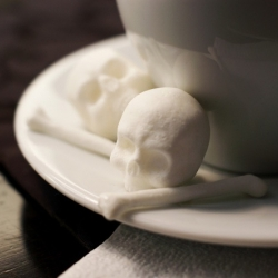 You can make that coffee 100% sinister by adding these amazing skull and cross bones sugar cubes to your cup.