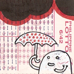 it's the most creative way of  playing the lottery. spontaneous art on lottery ticket by samowel