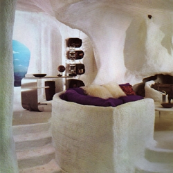 "fur lined sunken living room, from the 1972 book: ""bloomingdale's book of interior decorating"""