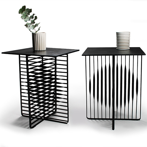 "Henri Judin Sun & Moon Tables - "" The illusion of round shapes on the surface of the horizontal and vertical bars is created by twisting flat steel bars using traditional methods."""