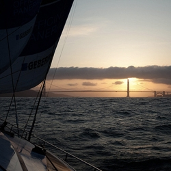 Sunrise ~ as viewed from sailing under the Golden Gate Bridge in San Francisco from LA over 48 hours with Mercedes-Benz... stunning views, and a peek at the impressive and inspirational PANGAEA of Mike Horn.