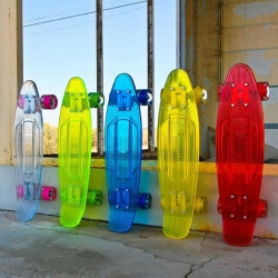 Sunset Skateboards has created a fantastic line of transparent, light-up cruisers, whose wheels illuminate with motion. have transparent polycarbonate decks that come in a variety of vibrant, juicy colours and various styles