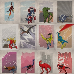 Superhero Dinosaurs. Avengersaurs and X-Dino posters, add them to your comic decor.