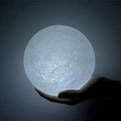 The moon by Nosinger, a topographically-accurate LED light.