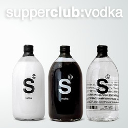 Love the design on the SUPPERCLUB signature vodka. Available in white, black, and clear.