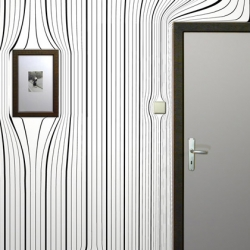 Surrealien wallpaper is slapped onto walls, disregarding the surface. Windows, doors, switches rip holes - all transformed into continuous patterns