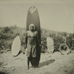 An incredible series of images shot by photographer Joni Sternbach who uses the historic tintype technique; this series of portraits capture surfers and their oceanside environment in a kind of anthropological way...