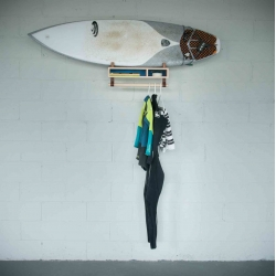 Surf Shelf by Joel Seigle and Austin Gillett. Made of maple, cork, and leather.