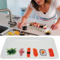 Fun sushi snackplates with photographic sushi preprinted upon them. Comes in a set of four.