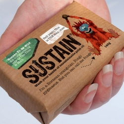 Sustain is a soap made from 100% sustainable palm oil. Other bars that use unsustainable palm oil are destroying habitats that are home to some of the most endangered species on our planet. Packaging design by Treasure.