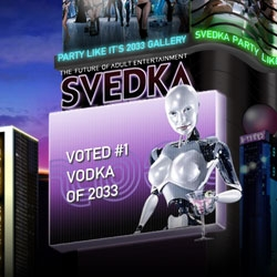Svedka Vodka has such a clean bottle design - intersting angle in their latest campaign... that they are the best in 2033... but why is their future so Phillip K Dick/Blade Runner-esque?