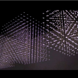 Swarm Light: a stunning chandelier made using 15,000 LEDs that mimics the movements of a swarm moving between three large cubes. Created by rAndom International.